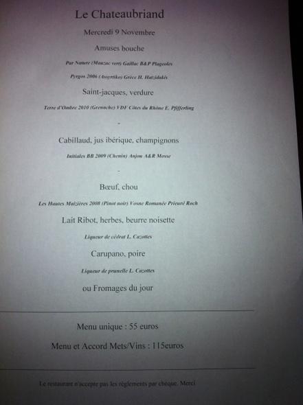 Chateaubriand Restaurant Paris Menu