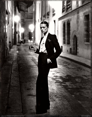 Helmut Newton, YSL, French Vogue, Rue Aubriot, Paris 1975 (dressed)